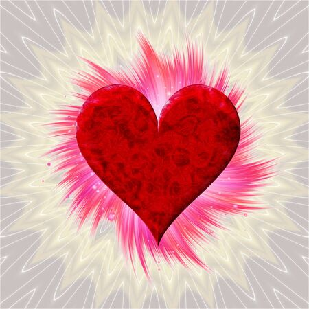 red love heart with flames: Abstract background with red heart and pink rays