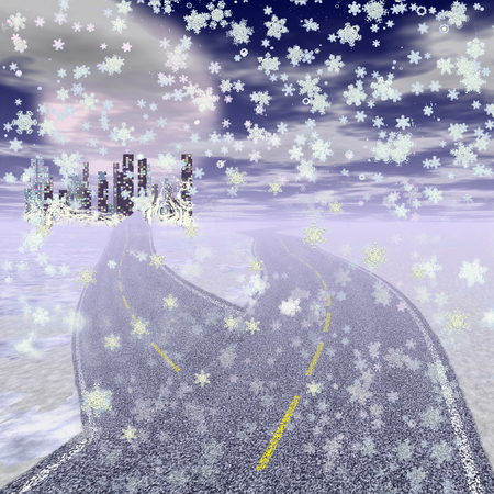 motorway: Panoramic winter city with scyscrapers, motorway and snowflakes