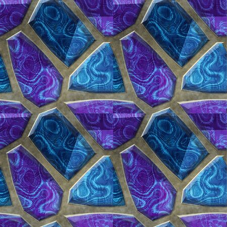 mottled: Abstract seamless floor relief pattern of blue and purple mottled stones