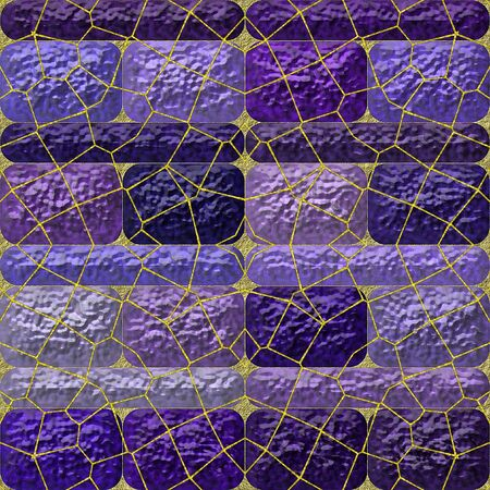 grained: Abstract background of violet and purple rounded rectangles with gold grid on a grained background Stock Photo