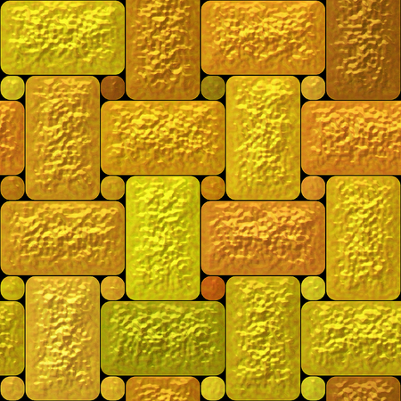 bumpy: Abstract seamless relief mosaic pattern of gold, orange and green rectangles and round plates Stock Photo