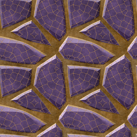 paving stones: Abstract seamless pattern of floor relief violet polygonal sharp stones with grid