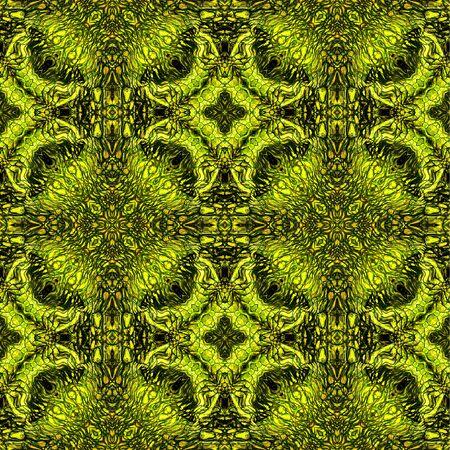reptile skin: Abstract seamless pattern with gold, green and brown Scalloped structure reminiscent of reptile skin