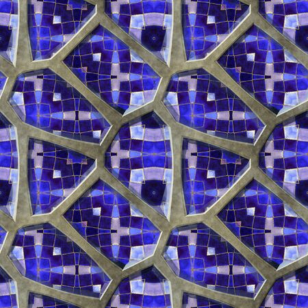 road paving: Abstract seamless pattern of 3d pavement stones with blue mosaic