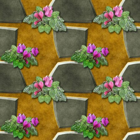 cyclamen: Seamless relief pattern of gray stones and pink flowers