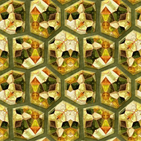 sharp: Abstract seamless pattern of sharp stones with red, gold and green mosaic pattern