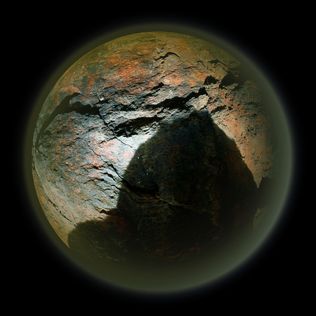 celestial body: Abstract celestial body with cracked stone structure and shadow of an Approaching meteorite Stock Photo