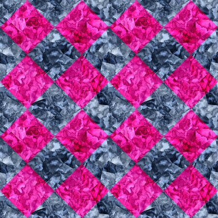 paving tiles: Abstract seamless pink and gray pattern of squares with marble texture