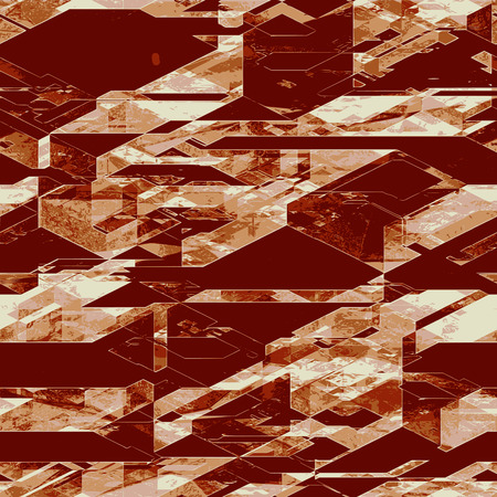 pyramidal: Abstract futuristic scratched background of brown and white blocks, pyramidal shapes and lines