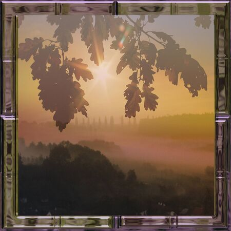 nostalgic: Nostalgic misty landscape with forest and leaves in a glass frame