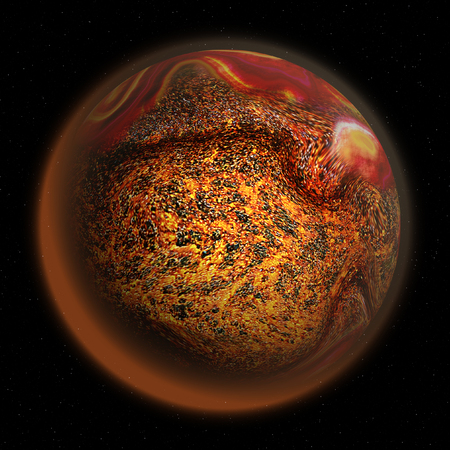 mottled: Abstract volcanic planet with red mottled structure and lava