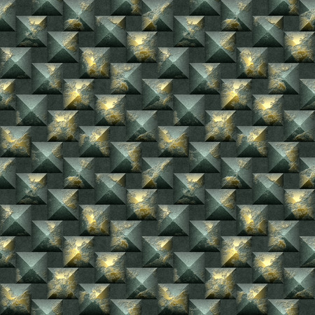 pyramidal: 3d seamless mosaic pattern of scratched gold and green pyramidal blocks Stock Photo