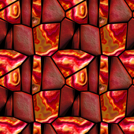 grained: Seamless 3d relief pattern of red, orange and brown sharp stones layered grained