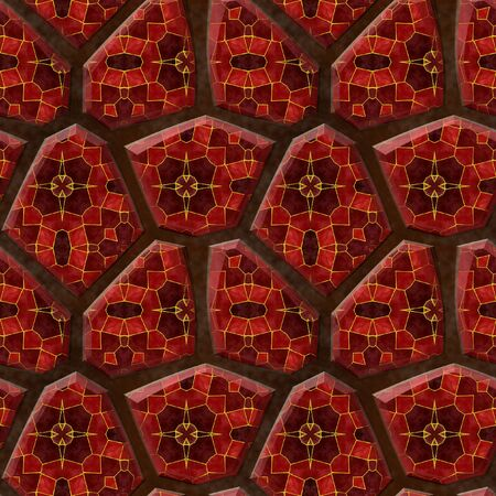 sharp: Abstract seamless pattern pavement relief of sharp stones with red and black mosaic Stock Photo