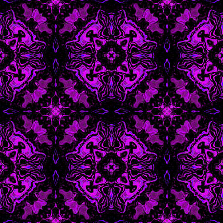 pink floral: Abstract seamless violet Kaleidoscopic pattern of stylized flowers and geometric shapes