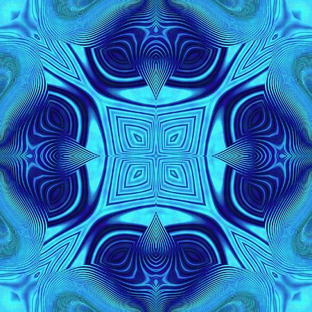 vibrating: Abstract Kaleidoscopic blue pattern with wavy structure resembling a mandala Stock Photo