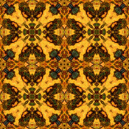 gold brown: Abstract seamless Kaleidoscopic pattern of ornamental geometric gold, brown and green motifs