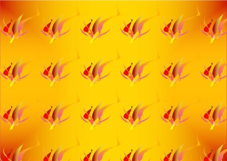 inferno: Pattern of stylized red, pink and gold flames and fires Illustration