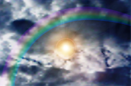 scintillating: Natural background of blue sky, rainbow and scintillating sun through clouds