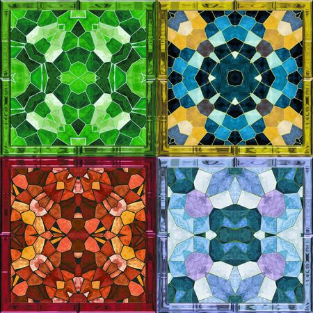 Kaleidoscopic abstract background of mosaic stained glass windows for four seasons