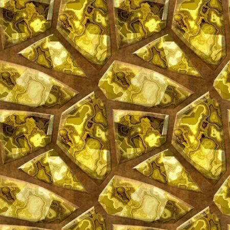paving stone: Seamless 3d relief pattern of gold and brown marbled polygonal stones on a clay background Stock Photo