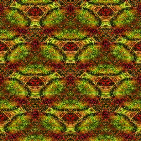 scale up: Abstract seamless red, green and orange pattern with stylized reptile scales and texture