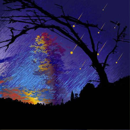 shooting: Dark night landscape with silhouettes of trees, clouds and falling meteorites Illustration