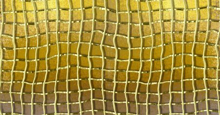 deformed: Gold grunge background with gold deformed metal grid