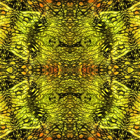 scalloped: Abstract reptile seamless pattern with gold, green and black Scalloped structure Stock Photo