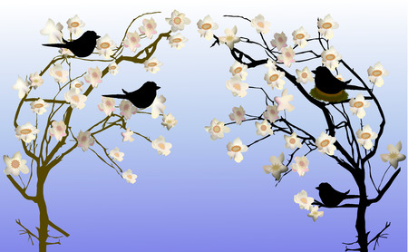 birds on branch: Spring flowering trees with a nest and silhouettes of birds Illustration