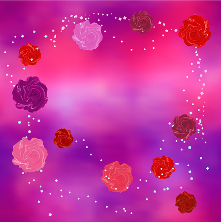 spangles: Abstract background with red, pink and purple roses and scaterred shiny spangles
