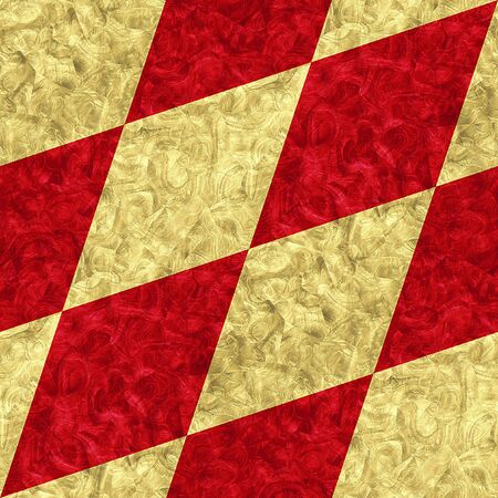 red diamond: Abstract seamless gold and red diamond pattern of beveled veined squares Stock Photo