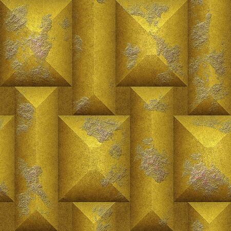 pyramidal: Abstract relief seamless mosaic pattern of gold scratched pyramidal blocks Stock Photo