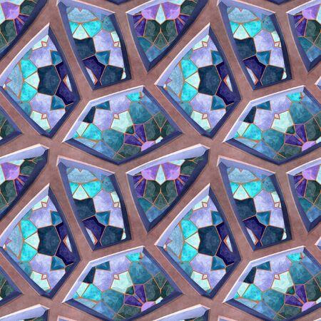 beveled: Abstract seamless mosaic pattern of polygonal beveled stones
