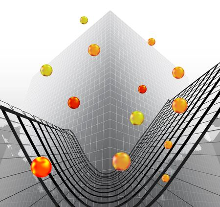 reminiscent: Abstract futuristic object reminiscent of modern building with glowing balls Illustration