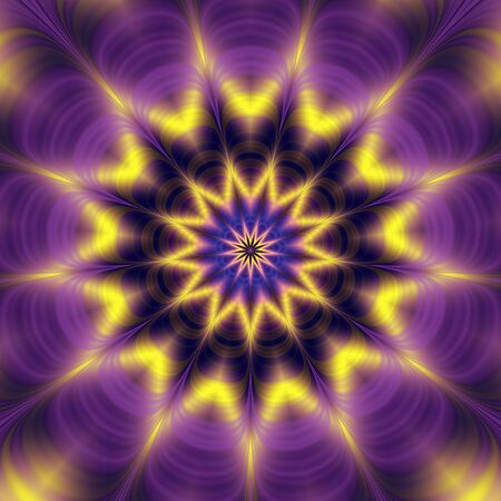 Abstract psychedelic rotating background of gold, purple and blue wavy structure with rays and star Stock Photo
