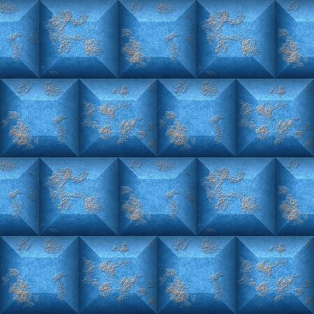 beveled: Abstract seamless mosaic pattern 3d of blue and beige beveled cubes