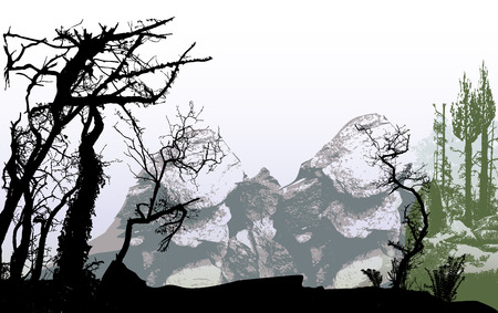 bar scene: Panoramic mountain winter landscape with rocks and silhouettes of trees