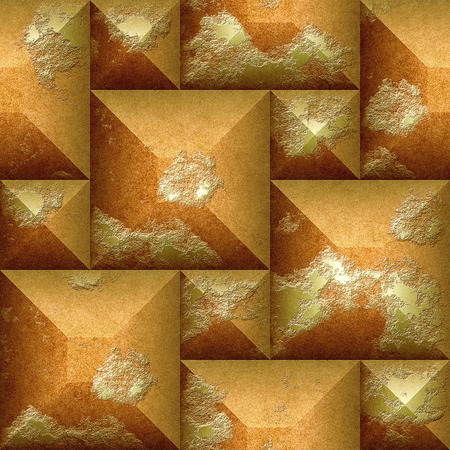 beveled: 3d Abstract seamless pattern of orange and gold scratched beveled cubes Stock Photo
