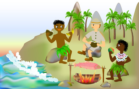 Holidays with natives on a tropical island