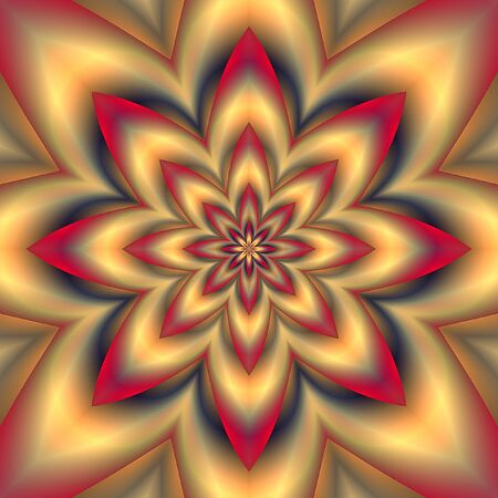 vibrating: Abstract psychedelic background with gold flower and red rays