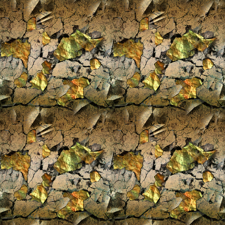 Abstract seamless pattern with cracked surface and gemstones