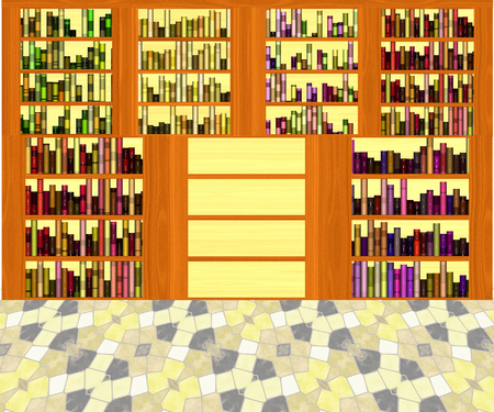 edification: Interior of library with book shelves and mosaic floor