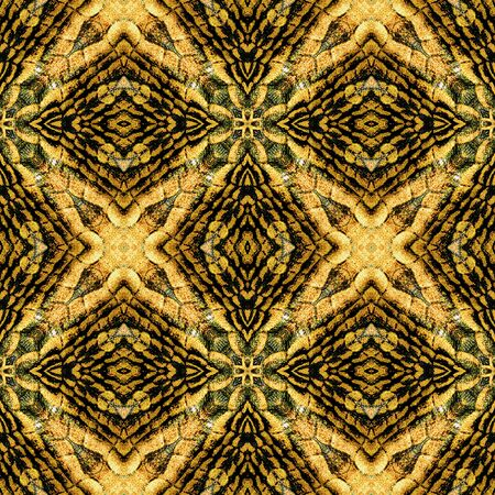 orange snake: Abstract seamless orange, black and green stylized snake pattern