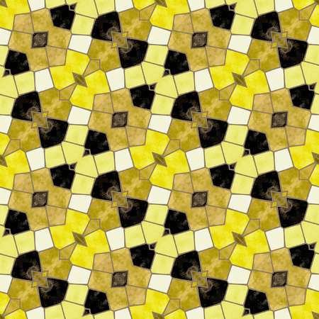 mosaic floor: Abstract seamless mosaic floor with yellow, black and beige geometric shapes