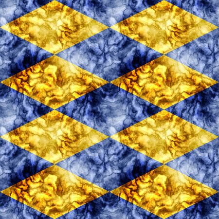 paving stones: Abstract seamless gold and blue marbled pattern of beveled veined squares