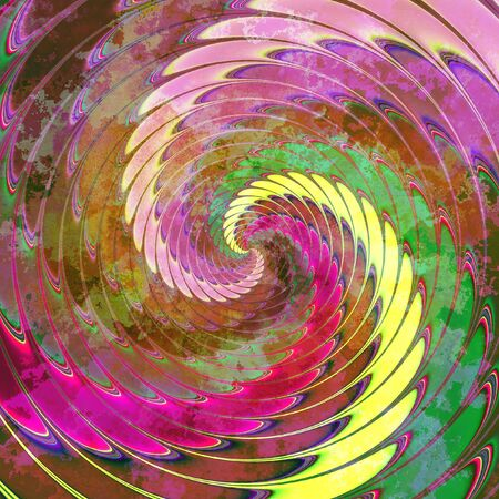 Abstract dynamic background peeling of rotating red, green, yellow and pink spirals