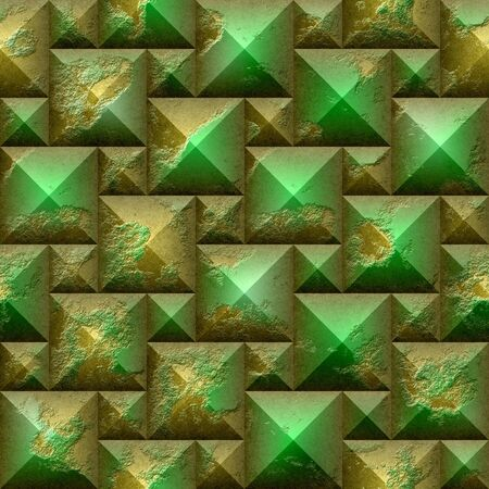 beveled: 3d Abstract seamless mosaic pattern of gold and green beveled pyramidal blocks Stock Photo