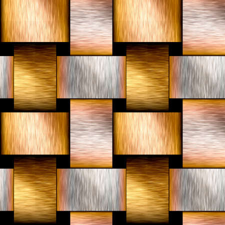 grooved: Abstract seamless brushed metal pattern of intertwined gold and silver rods Stock Photo
