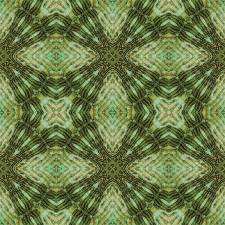snake texture: Kaleidoscopic Abstract seamless pattern with green, gold and black stylized snake texture